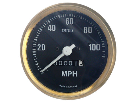 0-100 MPH Smiths Black Face Speedometer Brass Bezel - Royal Enfield