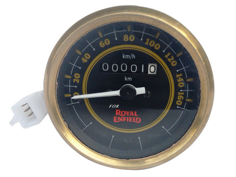 0-160 Kmph Black Face Speedometer Brass Bezel Fits Royal Enfield Classic Bikes