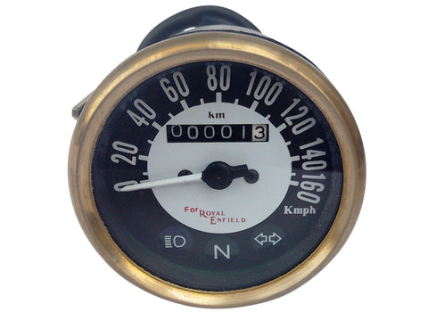 0-160 Kmph Black Face Speedometer Brass Bazel Fits Royal Enfield Classic