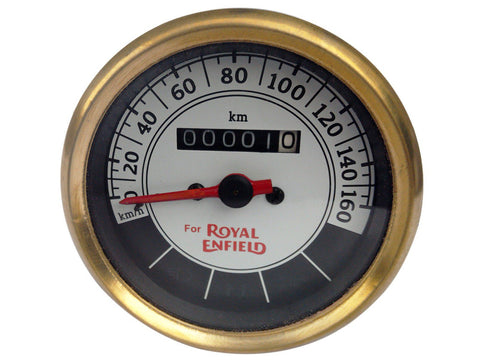 0-160 KMPH Black & White Face Speedometer Brass Bezel - Royal Enfield Classic