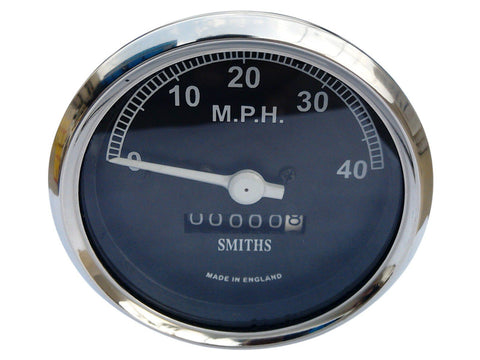 0-40 MPH Chrome Speedometer Smith Black Face Fits Vintage Motorcycles