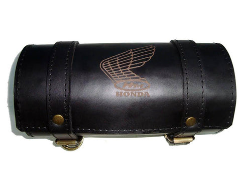 Brand New Customized Vintage Honda Tool Roll Bag Black Leather - Motorcycle