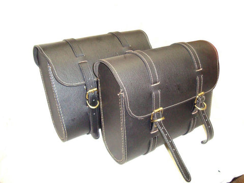 New Pair of Leather Saddle Bags With Fitting Fits Royal Enfield Bullet