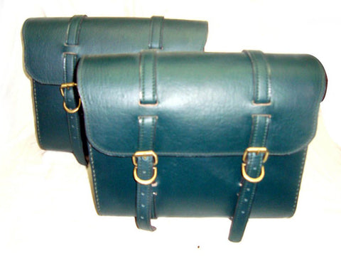 New Green Leather Saddle Bags Fits Royal Enfield Bullets
