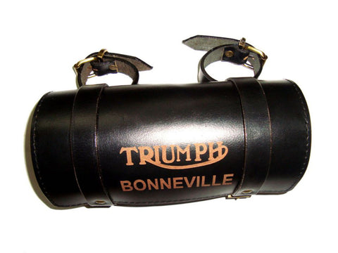 Customized Handcrafted Triumph Bonneville Black Leather Tool Roll Bag (Auction Deal)