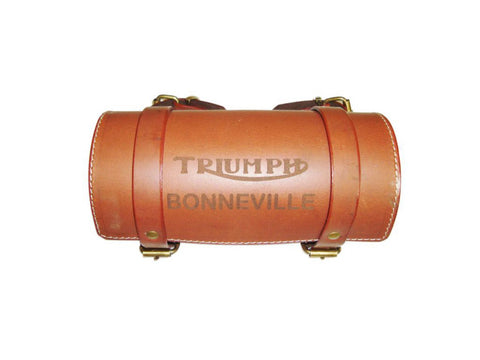 Genuine Leather Brown Triumph Bonneville Handcrafted Tool Roll Bag (Auction Deal)