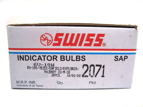 Pack-20 Indicator Bulb 6v-10w Fits Royal Enfield