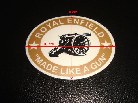 Brand New Pair of Royal Enfield Cannon Stickers - Made Like A Gun 8 Cm X 10 Cm