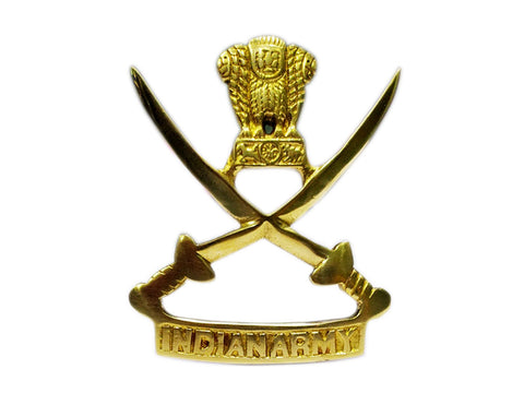 Customized Brass Indian Army Badge/Emblem Two Swords- Motorcycles,Cars,Truck