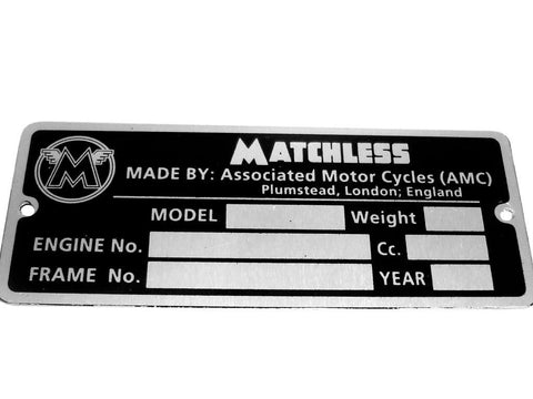 Buy ID Tage Data Plate For Vintage Matchless Twins 20 G9 G12/41/500/650/G80 Model sales@RoyalSpares, Wholesale Prices--Worldwide Free Delivery