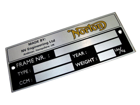 Vintage Fastback Norton Commando Roadster Atlas Dominator Interstate Blank Data Plate available at
