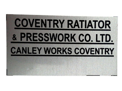 Coventry Radiator Canley Works Name Plate Acid Etched Fits Many British Cars available at