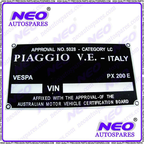 Buy Rare & Unique Replacement Blank Piaggio Vespa Frame Data Plate sales@RoyalSpares, Wholesale Prices--Worldwide Free Delivery