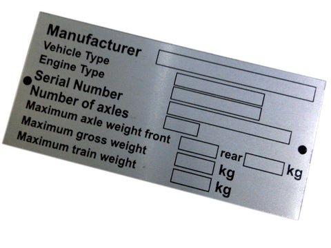 Universal Van, Truck, Caravan - Blank Vin Chassis Anodized Alu Etched Plate available at
