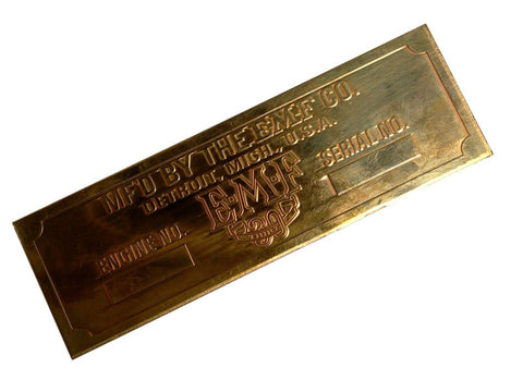 Custom Made Brass Embossed E-M-F Thirty Old Car Blank Manufacturer Plate available at