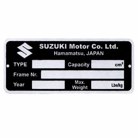 Aluminium Acid Etching Data Plate For Suzuki Re-5; Gt550; Gs750; Gsx; Models available at