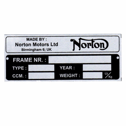 Aluminium Data Plate  Acid Etching For Norton Early 1952 Models available at