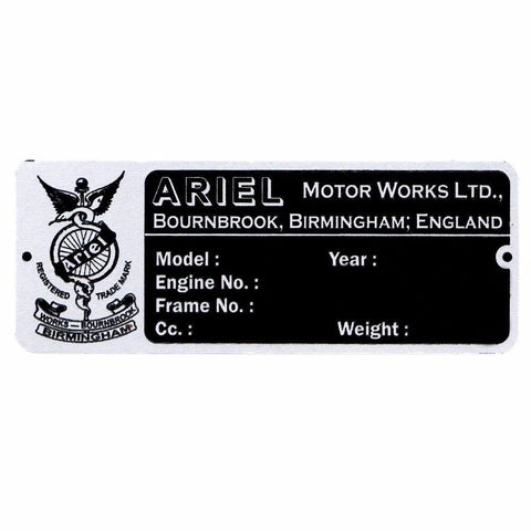 Buy Vintage ARIEL 1932-40 Blank Alu Acid Etching Data Plate Fits Ariel 350/500cc Models sales@RoyalSpares, Wholesale Prices--Worldwide Free Delivery
