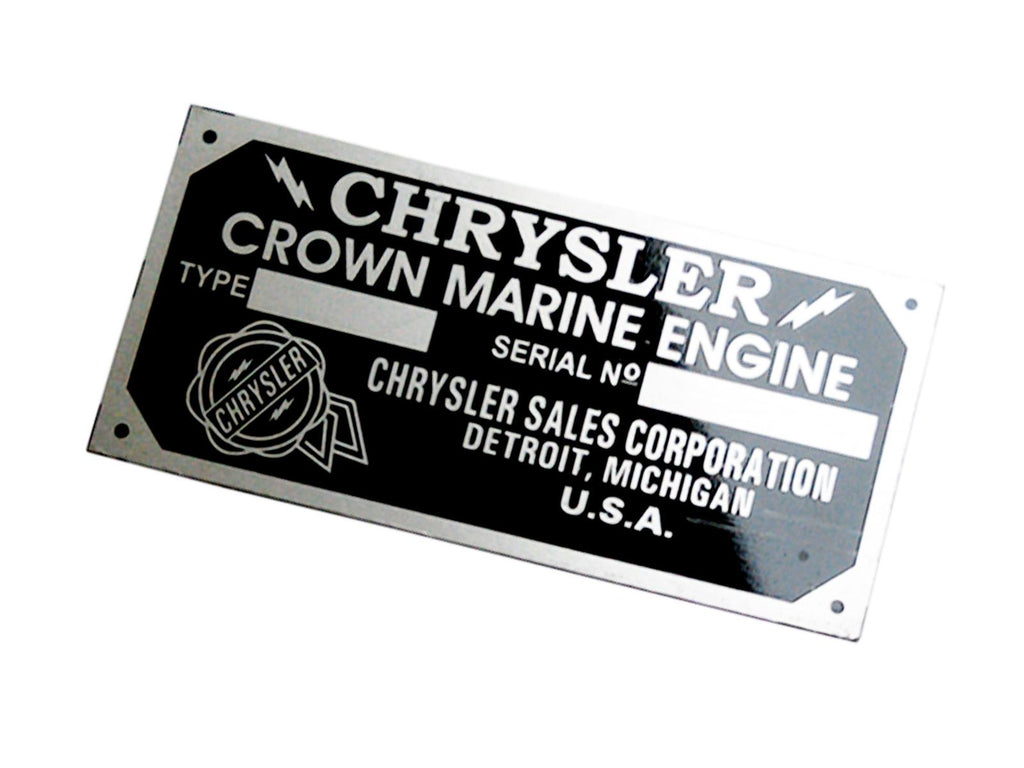 Buy Anodized Aluminium Etching Chrysler Crown Marine Engine Id Tag