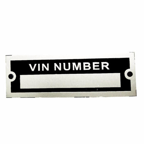 Number Blank Vehicle Identification VIN NUMBER Plate Data/Tag (Auction Deal)