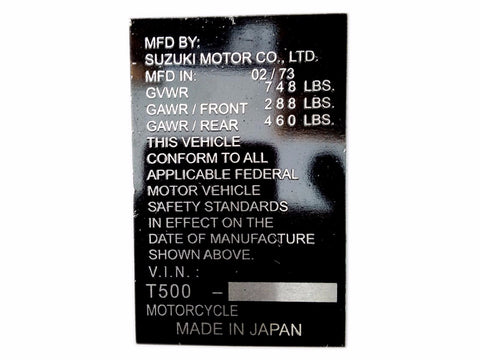 Hi Quality Aluminium Acid Etching Data Plate For Suzuki 2/1973 Models available at
