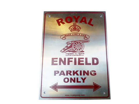 HI QUALITY STAINLESS STEEL OWNER PARKING PLATE RED - ROYAL ENFIELD OWNERS
