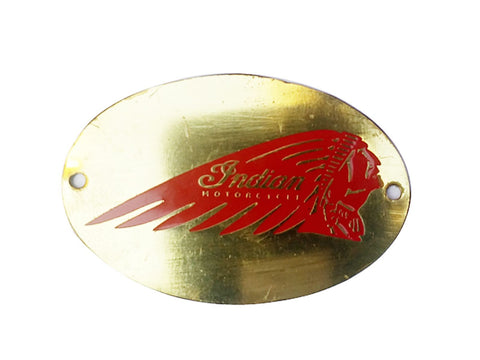 HI QUALITY INDIAN BADGE RED BRASS FINISH - INDIAN MOTORCYCLE