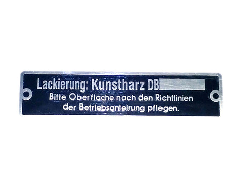 HI QUALITY DATA PLATE LACKIERUNG KUNSTHARZ DB GERMAN LANGUAGE - MERCEDES CAR