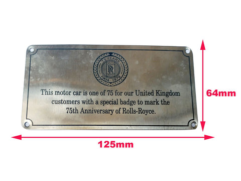 Vintage Special Rolls Royce 75th Anniversary Badge United Kingdom Rare 1979