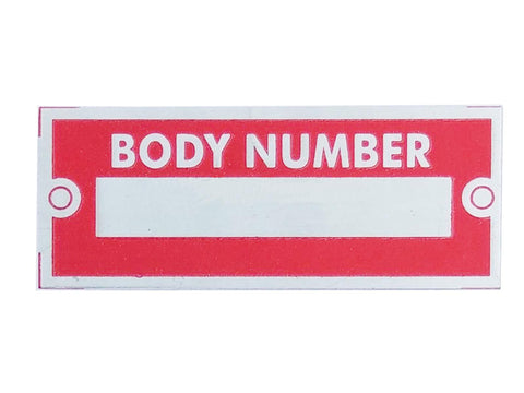 BODY NUMBER Red Aluminium Acid Etched Data Plate ID Tag