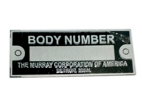 Body Number Data Plate Black THE MURRAY CORPORATION OF AMERICA ID Tag