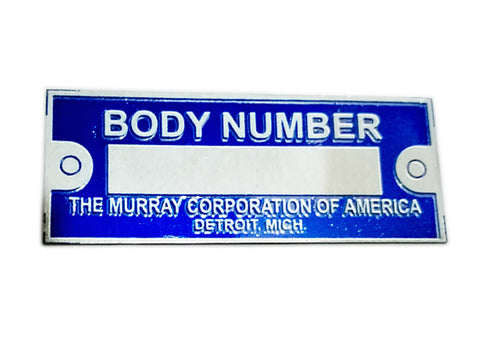 Body Number Data Plate Blue THE MURRAY CORPORATION OF AMERICA ID Tag