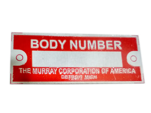 Body Number Data Plate Red THE MURRAY CORPORATION OF AMERICA ID Tag