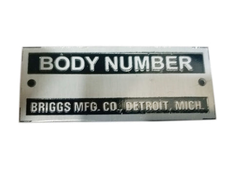 Body Number Briggs Acid Etched Black Data Plate Detroit, Mich ID Tag