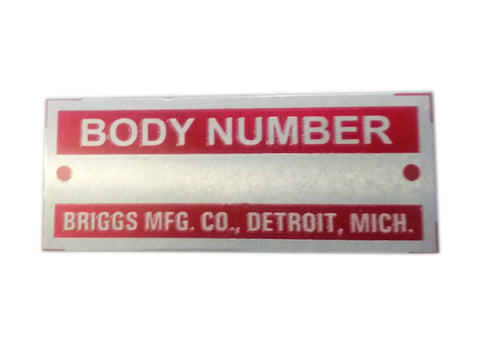 Body Number Briggs Acid Etched Red Data Plate Detroit, Mich ID Tag