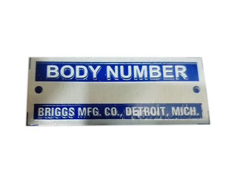 Body Number Briggs Acid Etched Blue Data Plate Detroit, Mich ID Tag