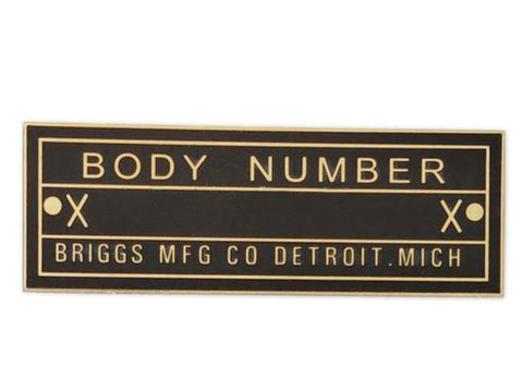 Body Number Brass Briggs Acid Etched Data Plate Detroit, Mich Id Tag