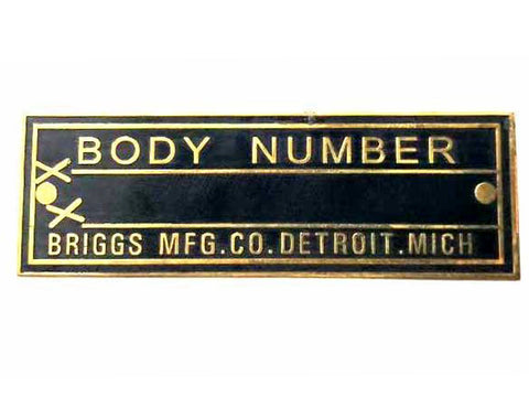 Body Number Black & Brass Briggs Acid Etched Data Plate Detroit, Mich Id Tag