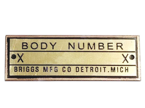 Body Number Heavy Brass Briggs Acid Etched Data Plate Detroit, Mich Id Tag