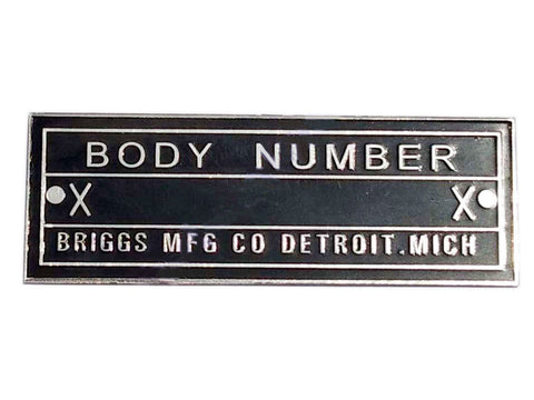 Body Number Chrome Brass Briggs Acid Etched Data Plate Detroit, Mich Id Tag