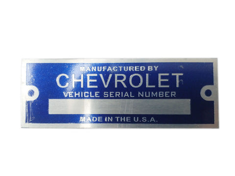 Chevrolet Vehicle Blue Serial Number Data Plate Made In The USA - Vintage Car , Truck