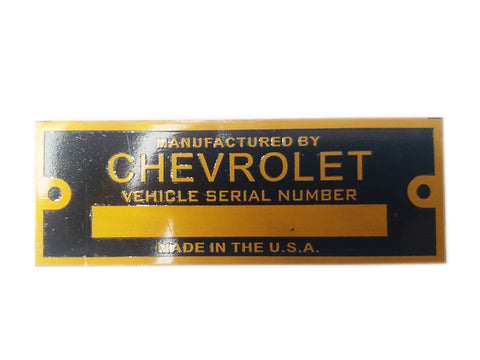 Chevrolet Vehicle Golden Finish Serial Number Data Plate Made In The USA - Vintage Car , Truck