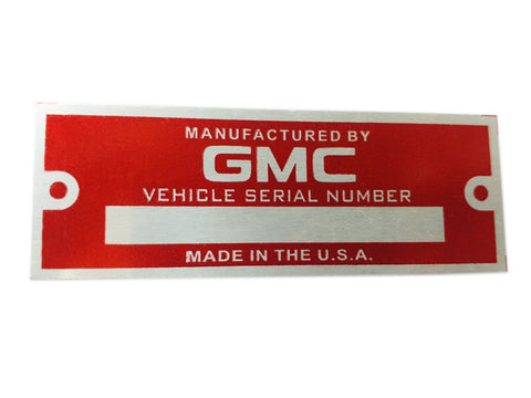 GMC Blank Red Data Plate Serial Number ID Tag Hot Street Rod Rat Rod Custom