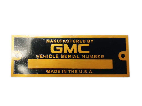 GMC Blank Golden Data Plate Serial Number ID Tag Hot Street Rod Rat Rod Custom