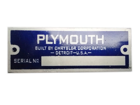 Plymouth Blank Blue Data Plate Serial Number Id Tag Hot Rod Rat Street Rod Trucks