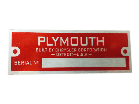 Plymouth Blank Red Data Plate Serial Number Id Tag Hot Rod Rat Street Rod Cars,Trucks