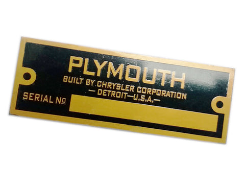 Plymouth Blank Golden Data Plate Serial Number Id Tag Hot Rod Rat Street Rod Cars,Trucks