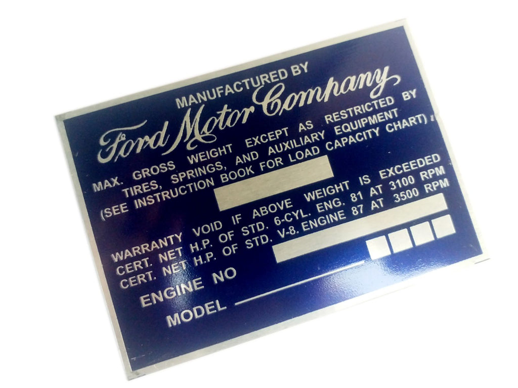 Vintage Ford Truck Weight Aluminum Acid Etched Blue Data