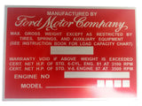 Ford Motor Company Aluminum Acid Etched Red Data Plate - Ford Truck 1940's-1950's