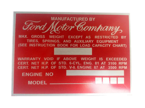 Vintage Ford Truck Weight Aluminum Acid Etched Red Data Plate 1940's-1950's